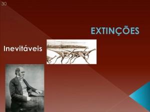 E para Darwin! para ele, as extinções eram simplesmente inevitáveis! Muitas extinções teriam ocorrido e ainda iriam ocorrer. Ele previu (corretamente) a extinção do lobo das Malvinas, o que infelizmente ocorreu ainda no século XIX.
